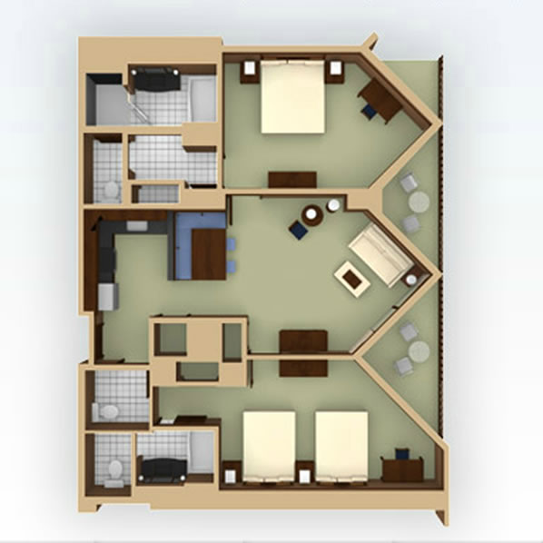 Aulani 2 Bedroom Villa Layout
