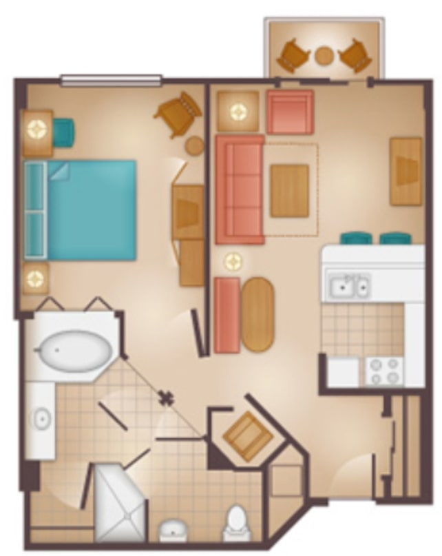 Disneys Beach Club Villas Floorplan One Bedroom a