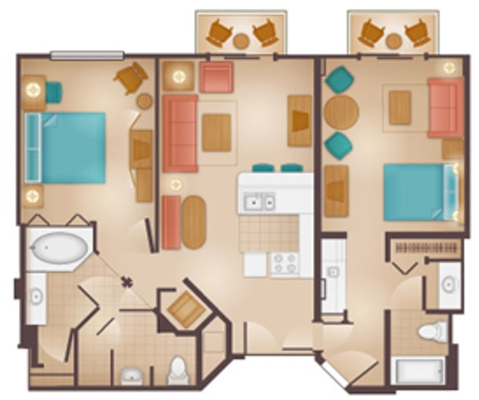 Disneys Beach Club Villas Floorplan Two Bedroom Lock Off a