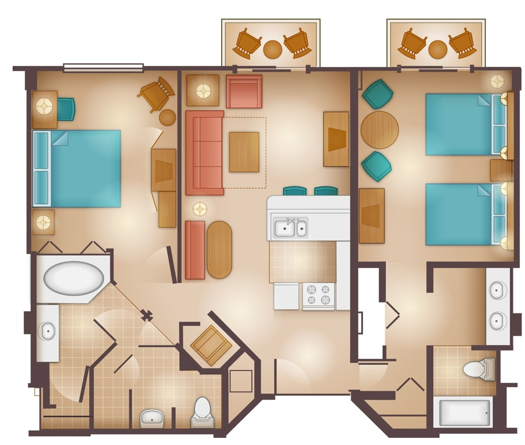 Disneys Beach Club Villas Floorplan Two Bedroom a